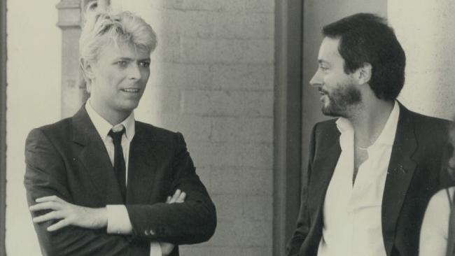 David Bowie with Australian promoter Paul Dainty on the 1983 Serious Moonlight tour